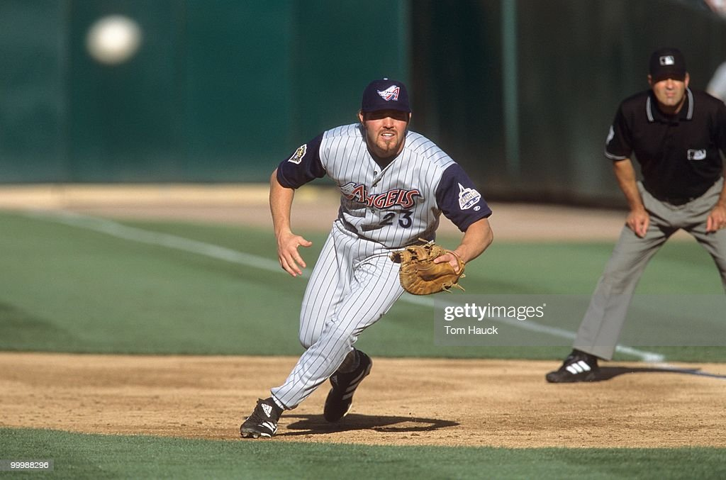 Scott Spiezio #23 of the Anaheim Angels plays first base during the game against the Oakland Athletics at Network Associates Coliseum on July 3, 2001 in Oakland, California.