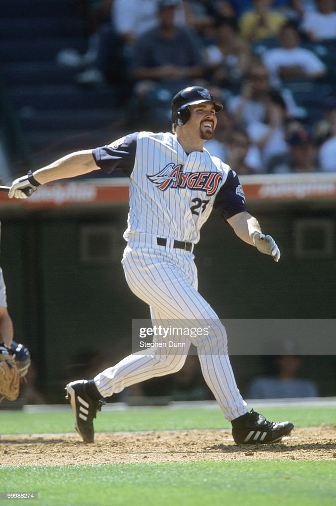 Scott Spiezio #23 of the Anaheim Angels runs to first during the game against the Detroit Tigers at Edison International Field on May 6, 2001 in Anaheim, California.