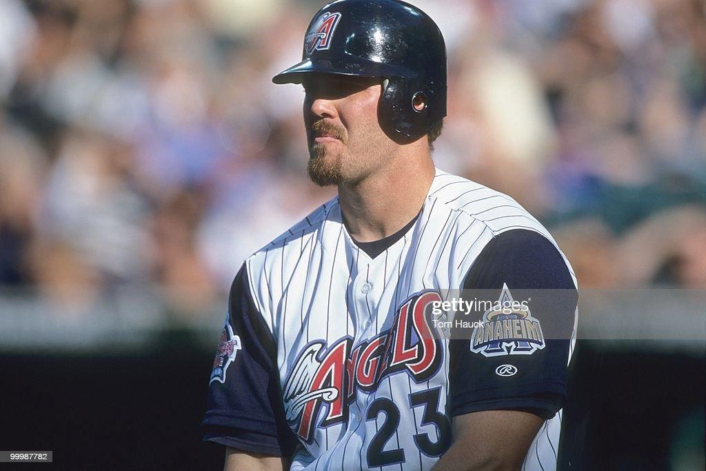Scott Spiezio #23 of the Anaheim Angels stands at the plate during the game against the Minnesota Twins at Edison International Field on June 25, 2000 in Anaheim, California.