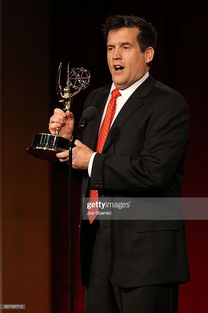 Scott St. John speaks onstage to accept an Emmy on behalf of Craig Ferguson for Outstanding Game Show Host at the 2016 Daytime Emmy Awards at Westin Bonaventure Hotel on May 1, 2016 in Los Angeles, California.