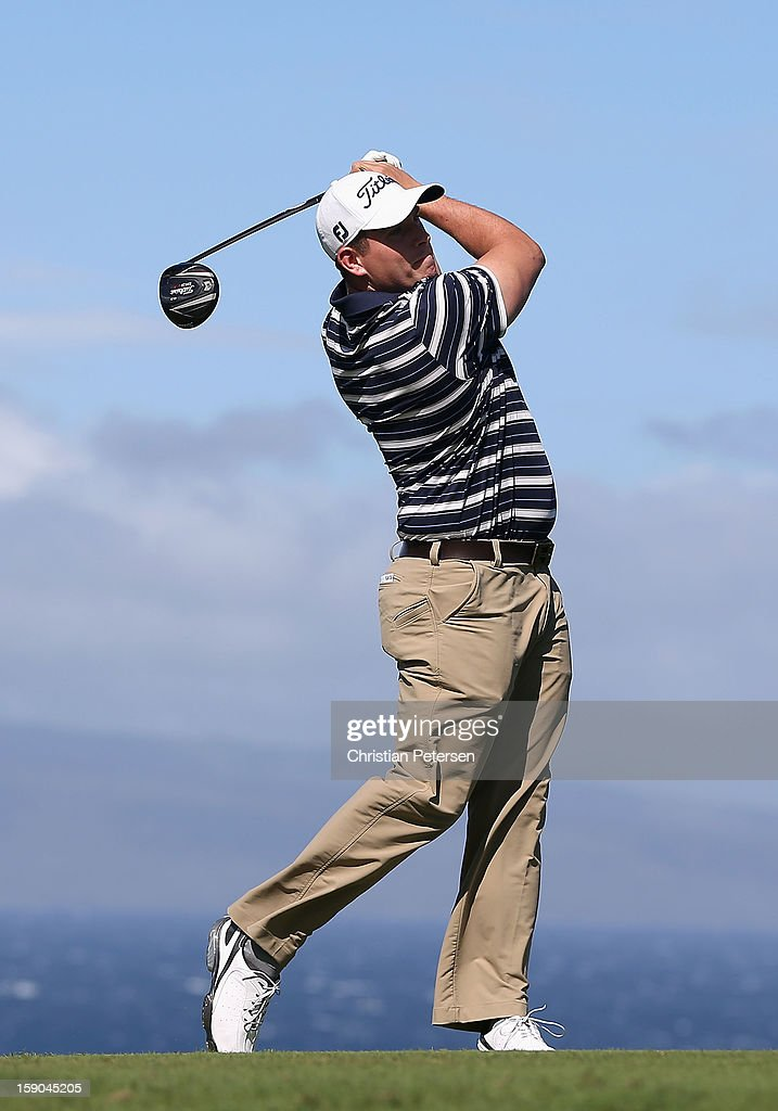 Scott Stallings hits a tee shot on the 10th hole during the replay of the first round of the Hyundai Tournament of Champions at the Plantation Course on January 6, 2013 in Kapalua, Hawaii.