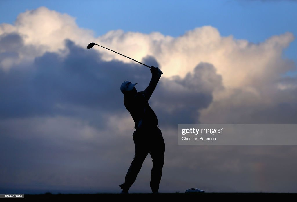 Scott Stallings hits a tee shot on the 10th hole during the replay of the first round of the Hyundai Tournament of Champions at the Plantation Course on January 7, 2013 in Kapalua, Hawaii.