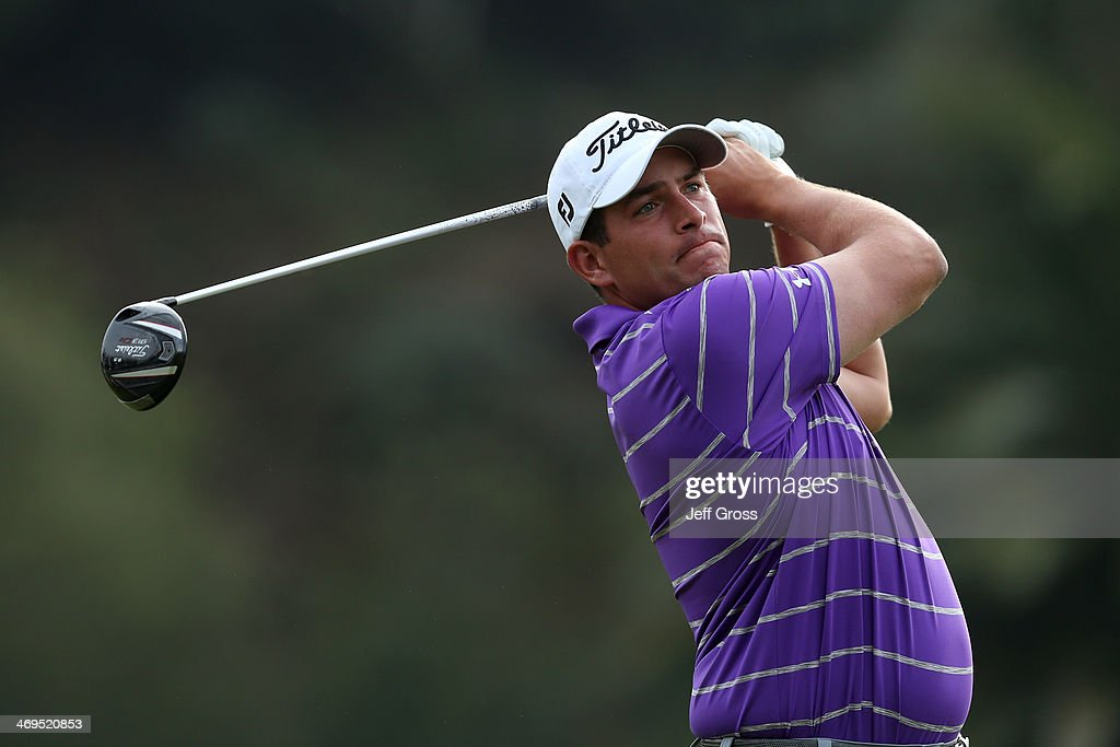 Scott Stallings hits a tee shot on the 2nd hole in the third round of the Northern Trust Open at the Riviera Country Club on February 15, 2014 in Pacific Palisades, California.