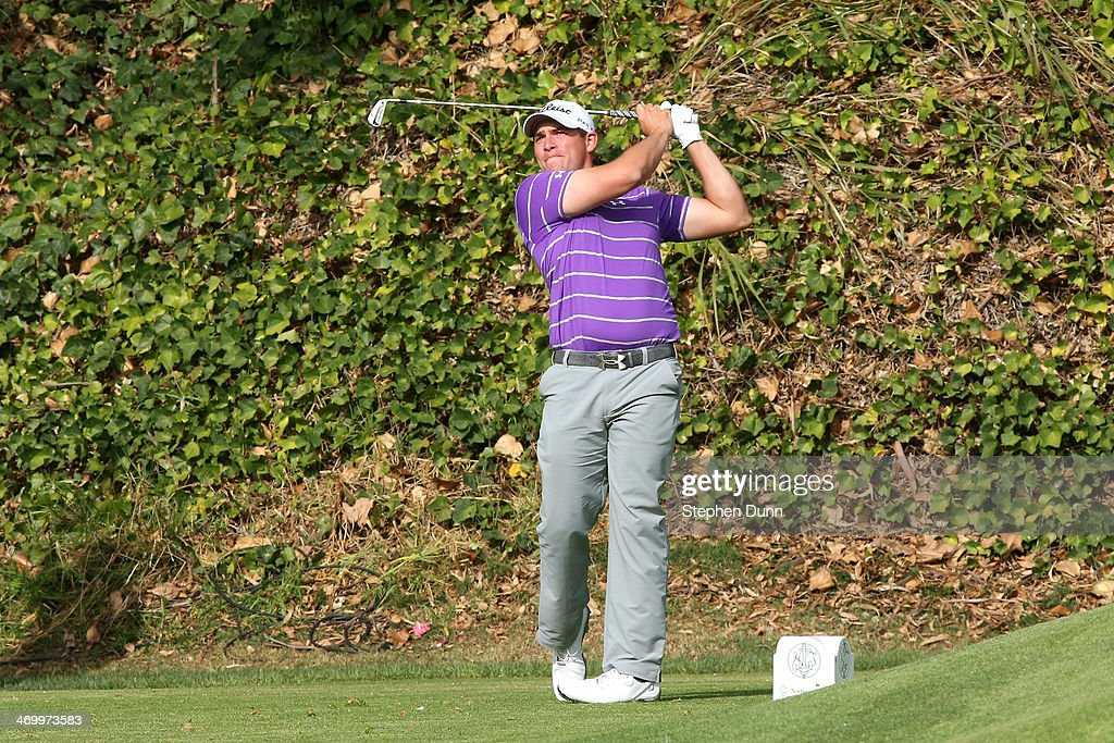 Scott Stallings hits a tee shot on the 6th hole in the third round of the Northern Trust Open at the Riviera Country Club on February 15, 2014 in Pacific Palisades, California.