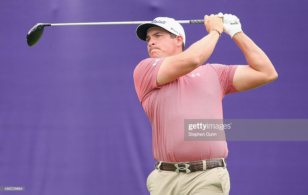 Scott Stallings hits his tee shot on the first hole during the continuation of the second round of the FedEx St. Jude Classic at the TPC Southwind on June 7, 2014 in Memphis, Tennessee.