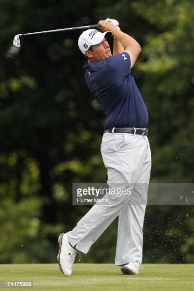 Scott Stallings of the United States hits his second shot on the 16th hole during round two of the RBC Canadian Open at Glen Abby Golf Club on July...