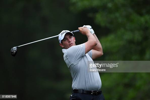 Scott Stallings of the United States hits his tee shot on the ninth hole during the first round of the Shell Houston Open at the Golf Club of Houston...