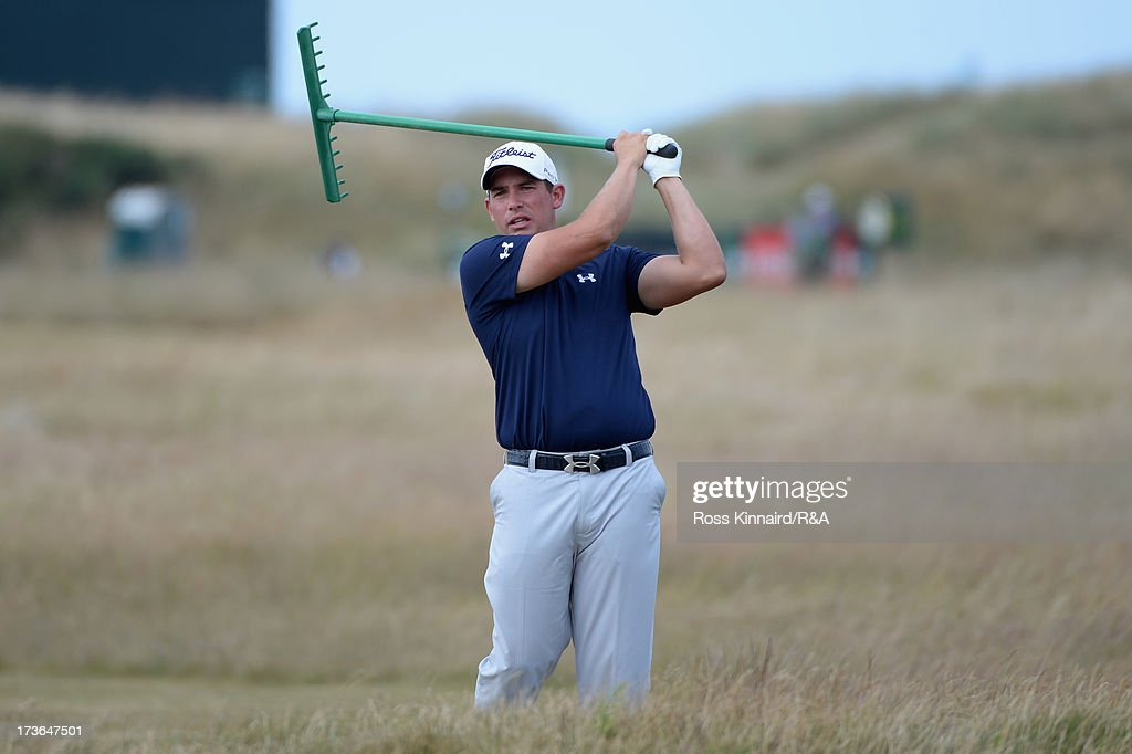 <a gi-track='captionPersonalityLinkClicked' href=/galleries/search?phrase=Scott+Stallings&family=editorial&specificpeople=6660711 ng-click='$event.stopPropagation()'>Scott Stallings</a> of the United States swings with a rake ahead of the 142nd Open Championship at Muirfield on July 16, 2013 in Gullane, Scotland.