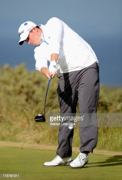 Scott Stallings of the United States tees off on the 5th hole during the first round of the 142nd Open Championship at Muirfield on July 18 2013 in...