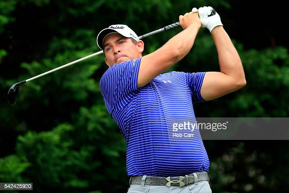 Scott Stallings plays a shot from the fifth tee during the first round of the Quicken Loans National at Congressional Country Club on June 23 2016 in...