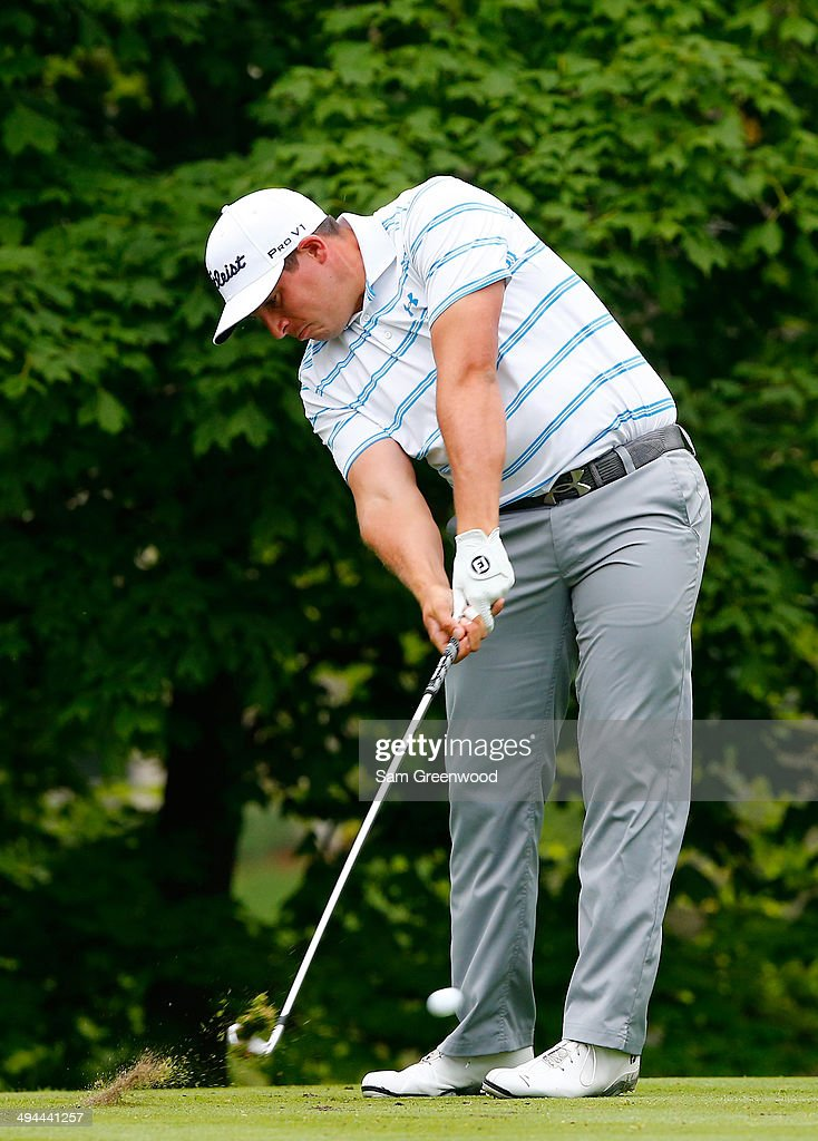 Scott Stallings plays a shot on the 14th hole during the first round of the Memorial Tournament presented by Nationwide Insurance at Muirfield Village Golf Club on May 29, 2014 in Dublin, Ohio.
