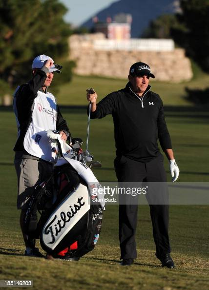 Scott Stallings plays a shot on the first hole during the first round of the Shriners Hospitals for Children Open at TPC Summerlin on October 17 2013...