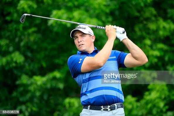 Scott Stallings plays his shot from the eighth tee during the First Round of the DEAN DELUCA Invitational at Colonial Country Club on May 26 2016 in...