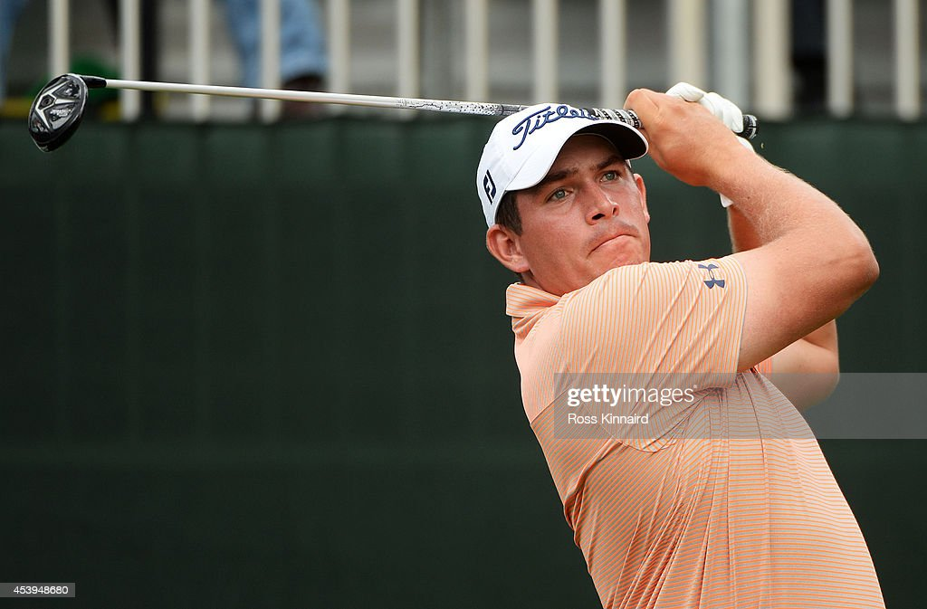 Scott Stallings plays his shot from the first tee during the first round of The Barclays at The Ridgewood Country Club on August 21 2014 in Paramus...