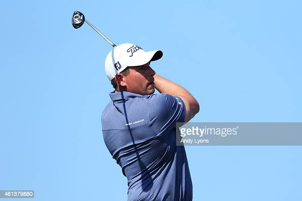 Scott Stallings plays his shot from the tenth tee during the third round of the Hyundai Tournament of Champions at Plantation Course at Kapalua Golf...