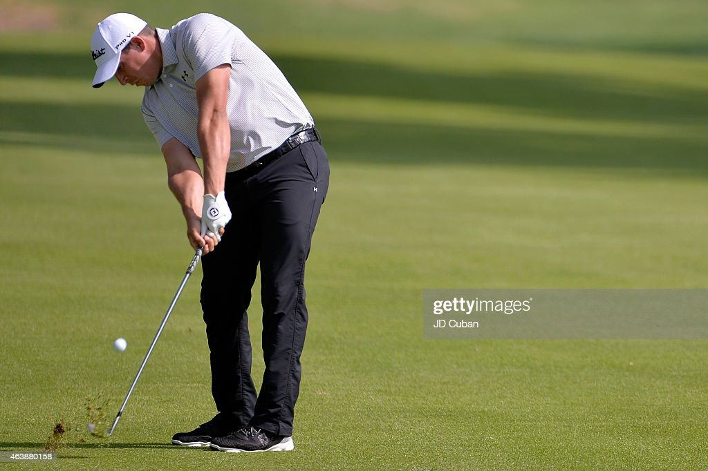 Scott Stallings takes his second shot on the 13th hole during round one of the Northern Trust Open at Riviera Country Club on February 19 2015 in...