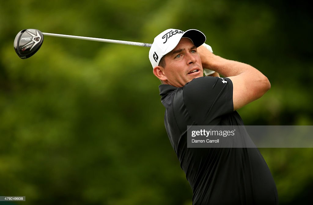 Scott Stallings tees off on the 17th hole during the first round of the Greenbrier Classic at the Old White TPC on July 2 2015 in White Sulphur...