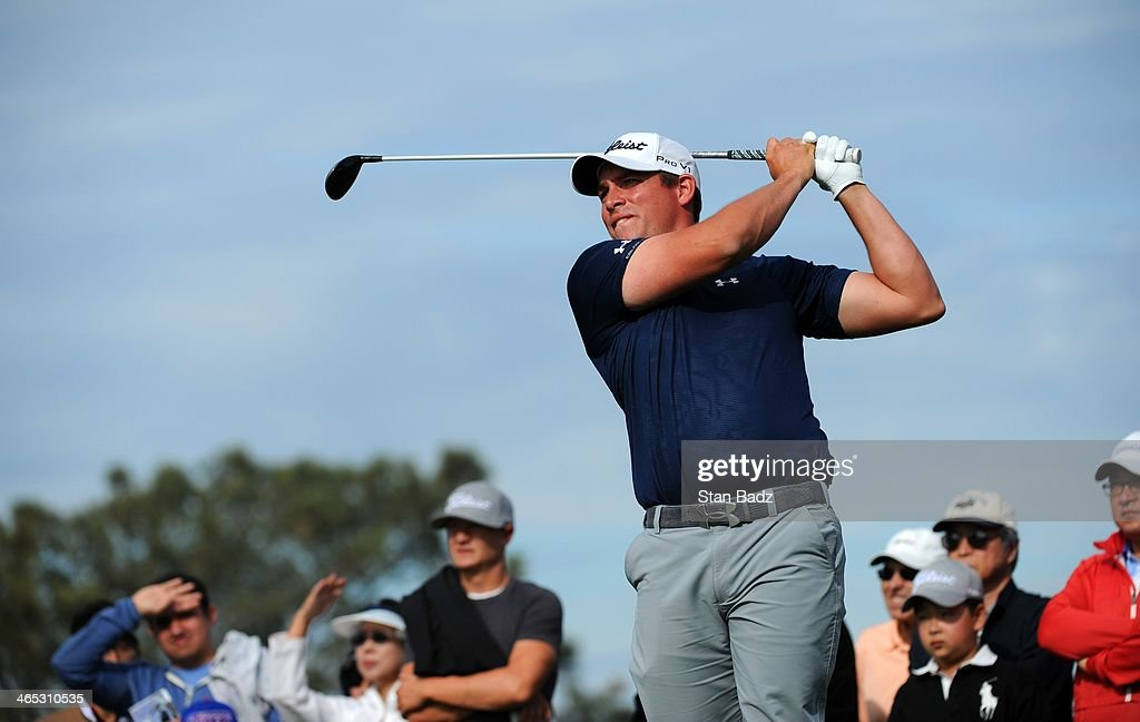 Scott Stallings watches his drive on the second hole during the final round of the Farmers Insurance Open at Torrey Pines Golf Course on January 26...