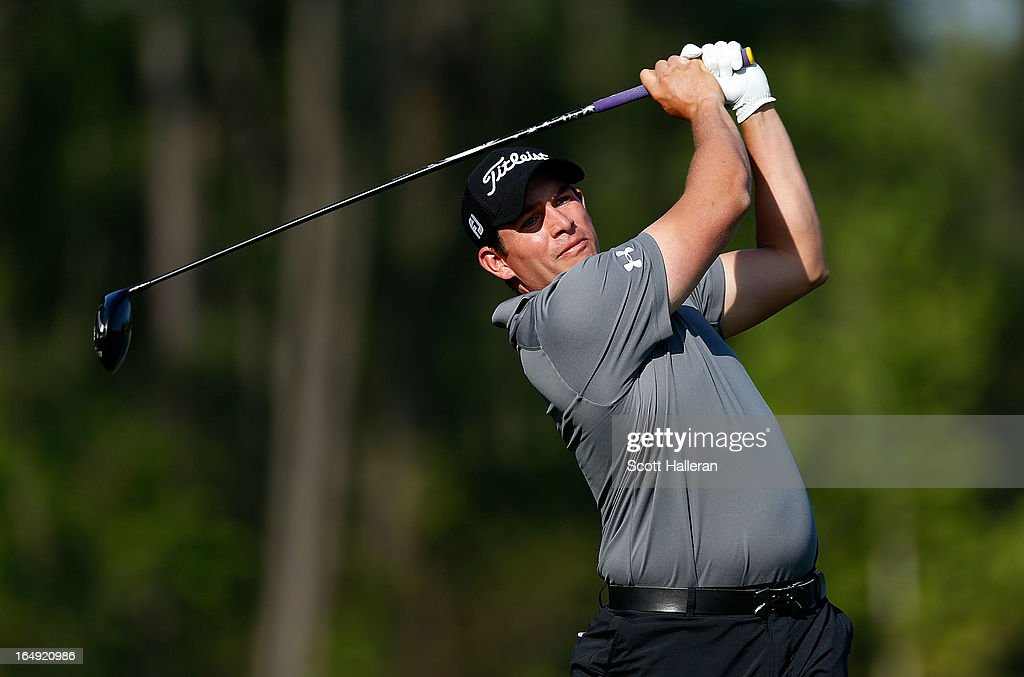 <a gi-track='captionPersonalityLinkClicked' href=/galleries/search?phrase=Scott+Stallings&family=editorial&specificpeople=6660711 ng-click='$event.stopPropagation()'>Scott Stallings</a> watches his tee shot on the eighth hole during the second round of the Shell Houston Open at the Redstone Golf Club on March 29, 2013 in Humble, Texas.