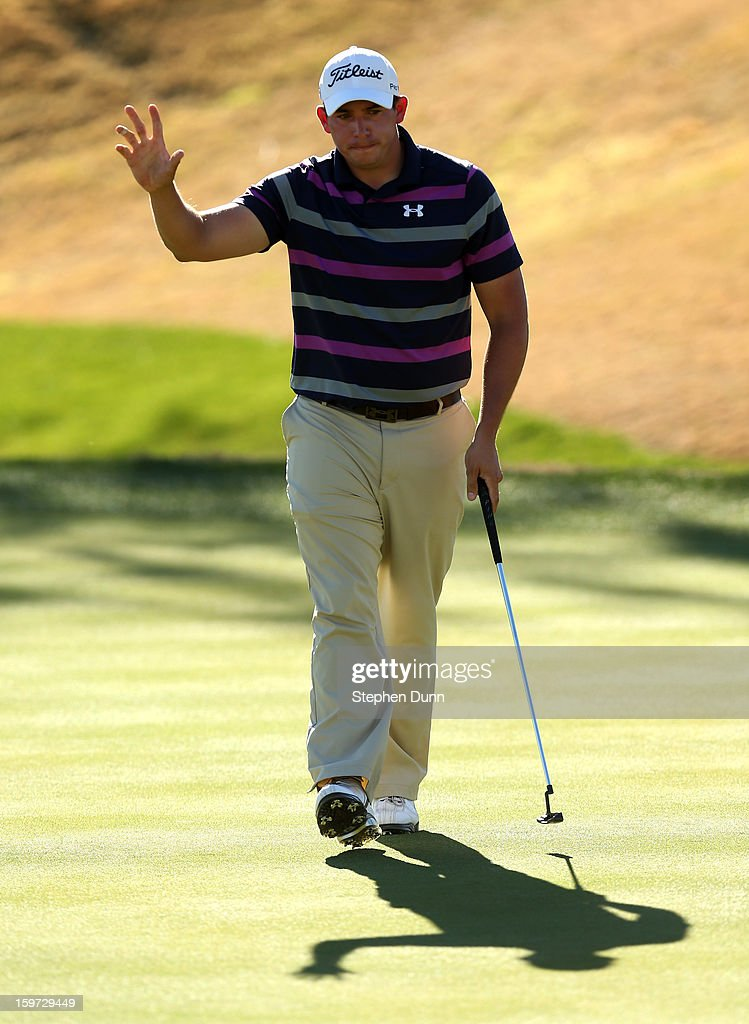 <a gi-track='captionPersonalityLinkClicked' href=/galleries/search?phrase=Scott+Stallings&family=editorial&specificpeople=6660711 ng-click='$event.stopPropagation()'>Scott Stallings</a> waves after making an eagle putt on the eighth hole during the third round of the Humana Challenge In Partnership With The Clinton Foundation on the Nicklaus Private Course at PGA West on January 19, 2013 in La Quinta, California.