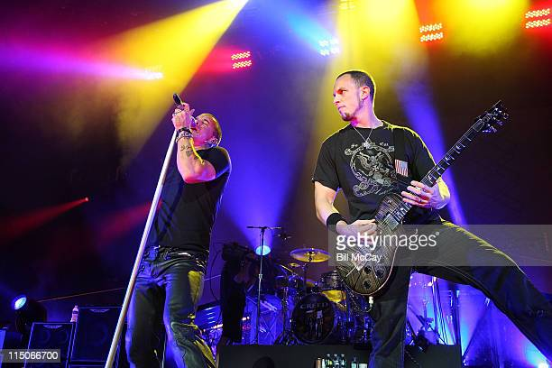 Scott Stapp lead singer and Mark Tremonti lead Guitar player for Creed perform live at the Susquehanna Bank Center August 13 2009 in Camden New Jersey