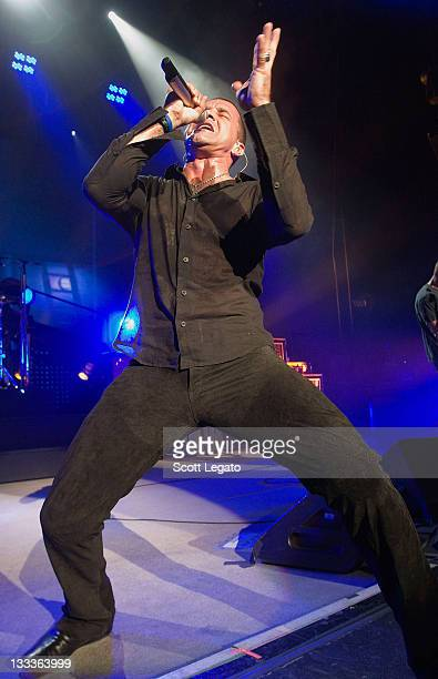 Scott Stapp of Creed performs at the DTE Energy Center on August 25 2009 in Clarkston Michigan