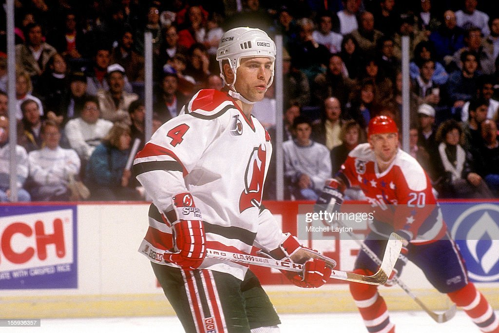 Scott Stevens #4 of the New Jersey Devils in position during a hockey game against the Washington Capitals on October 8, 1993 at USAir Arena in Landover, Maryland. The Devils won 3-2.