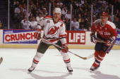 Scott Stevens of the New Jersey Devils looks on during a NHL hockey game against the Washington Capitals on Janaury 24 1992 at Capitol Centre in...