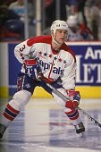 Scott Stevens of the Washington Capitals looks on during a NHL hockey game against the Philadelphia Flyers on December 23 1989 at Capitol Centre in...