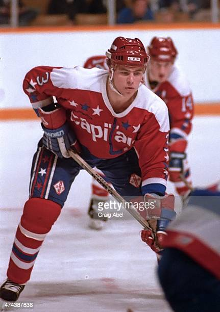 Scott Stevens of the Washington Capitals prepares for the faceoff against the Toronto Maple Leafs during dame action at Maple Leaf Gardens in Toronto...