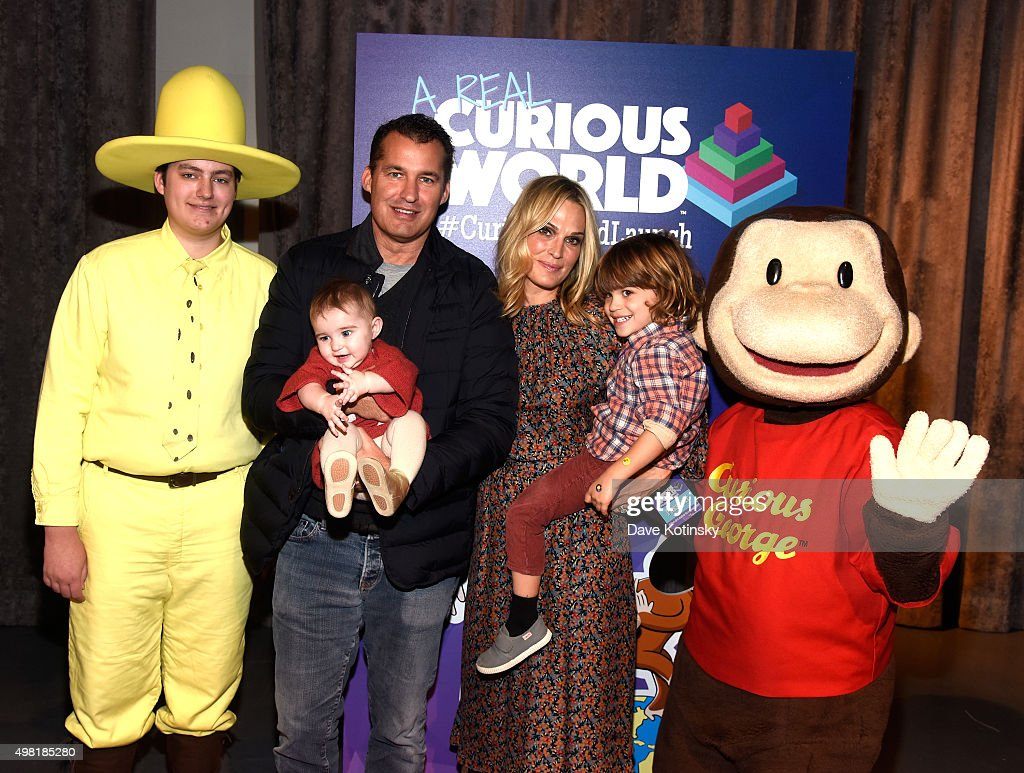 Scott Stuber and Molly Sims attend 'A Real Curious World' HMH App launch event at The Intrepid Sea Air Space Museum at Intrepid SeaAirSpace Museum on...