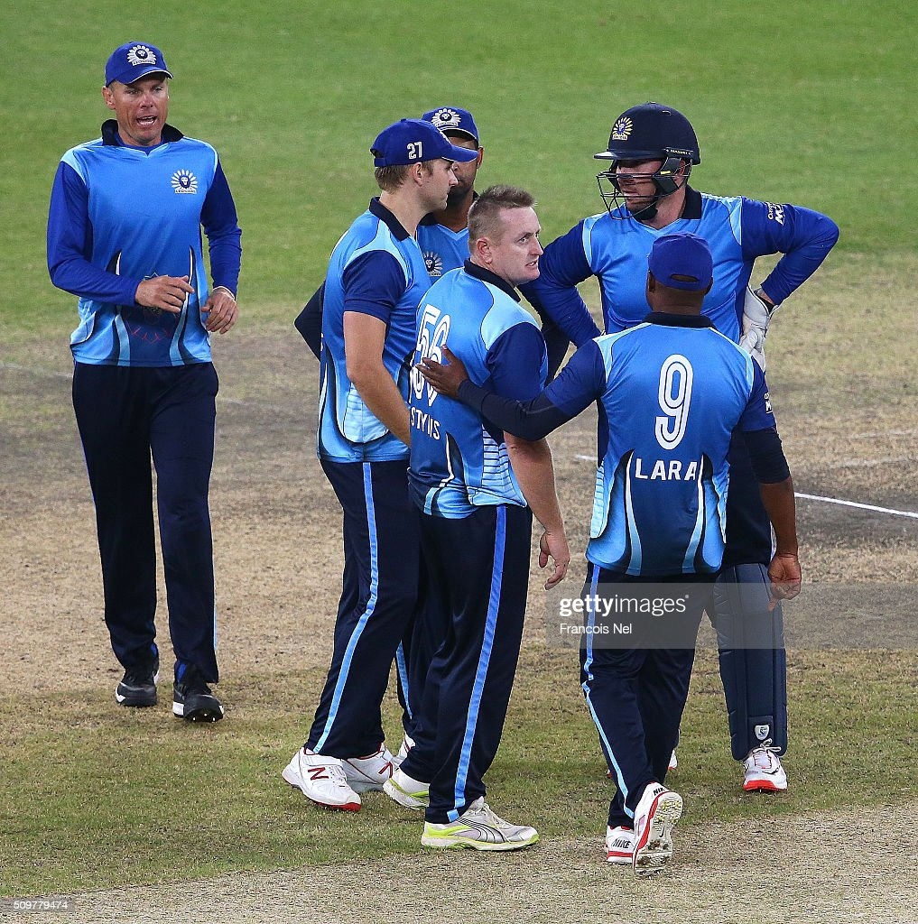 <a gi-track='captionPersonalityLinkClicked' href=/galleries/search?phrase=Scott+Styris&family=editorial&specificpeople=216551 ng-click='$event.stopPropagation()'>Scott Styris</a> of Leo Lions celebrates the wicket of Hasan Raza of Virgo Super Kings with his team-mates during the Oxigen Masters Champions League Semi Final match between Leo Lions and Virgo Super Kings at Dubai International Cricket Stadium on February 12, 2016 in Dubai, United Arab Emirates.