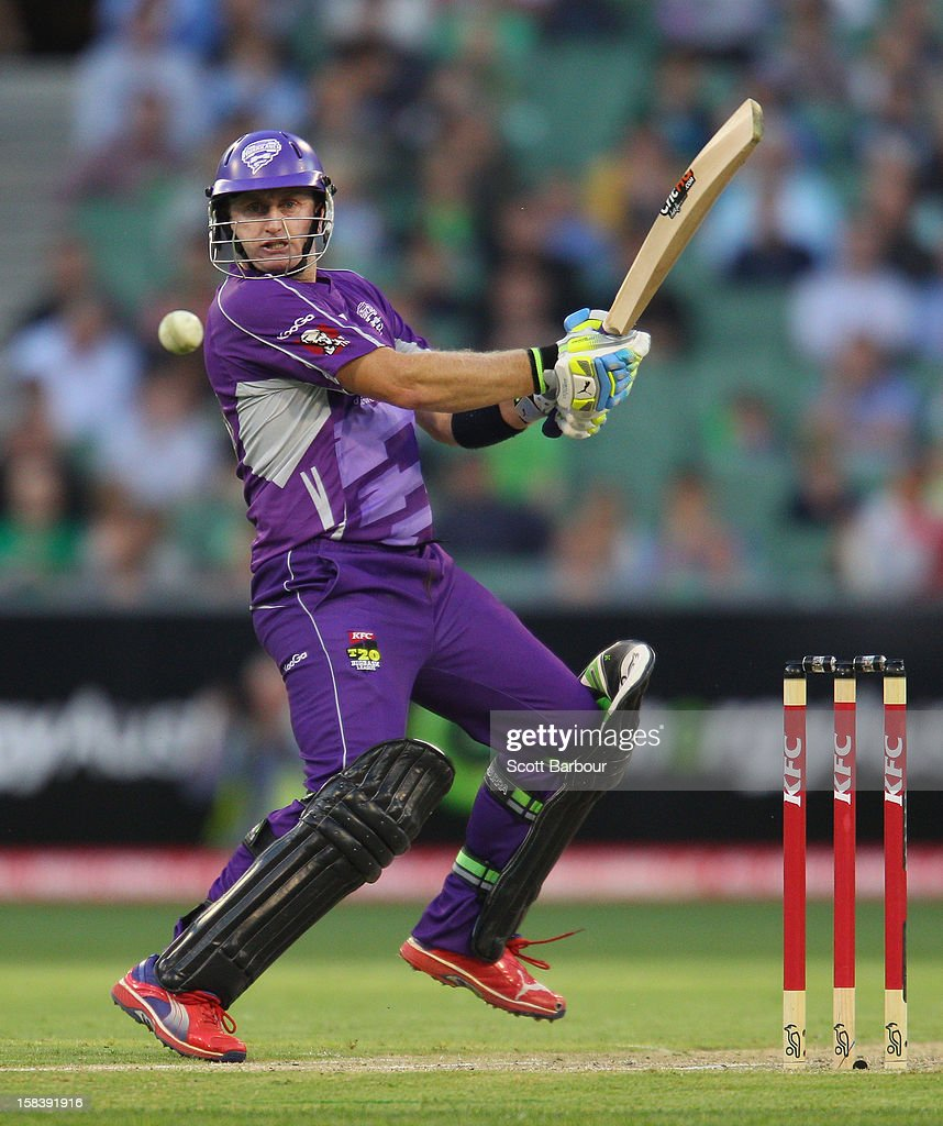 <a gi-track='captionPersonalityLinkClicked' href=/galleries/search?phrase=Scott+Styris&family=editorial&specificpeople=216551 ng-click='$event.stopPropagation()'>Scott Styris</a> of the Hurricanes bats during the Big Bash League match between the Melbourne Stars and the Hobart Hurricanes at the Melbourne Cricket Ground on December 15, 2012 in Melbourne, Australia.
