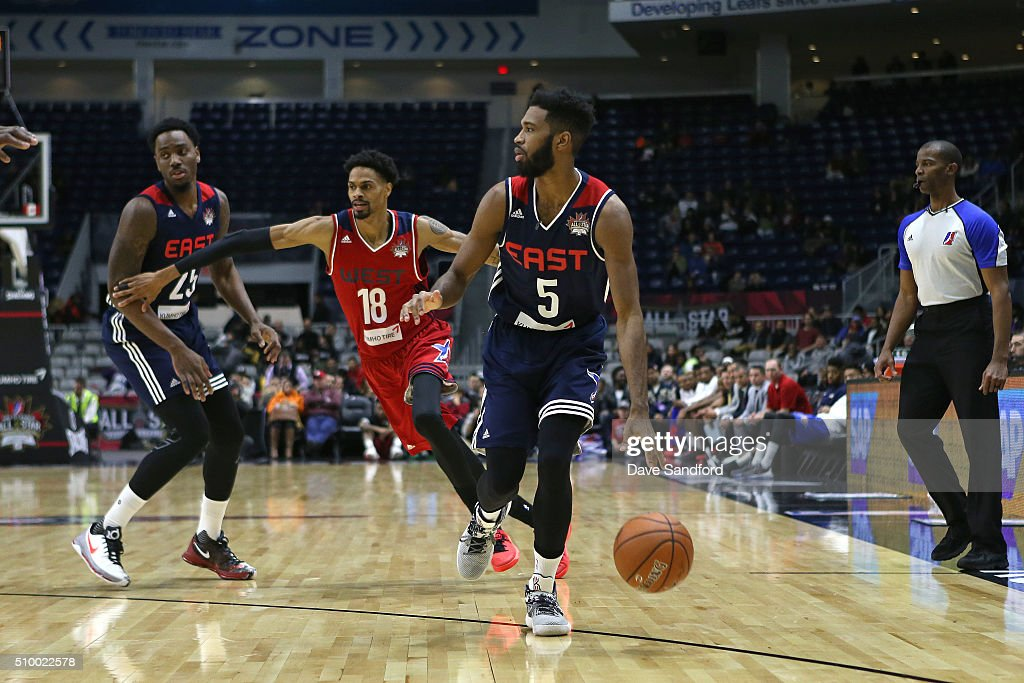 Scott Suggs #5 of the East handles the ball against the West during the NBA D-League All-Star Game 2016 presented by Kumho Tire as part of 2016 All-Star Weekend at the Ricoh Coliseum on February 13, 2016 in Toronto, Ontario, Canada.