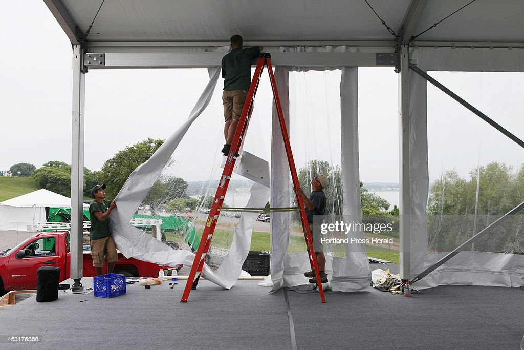 Preparations for July 4 celebration in Portland & Wallace Tent And Party Rentals Stock Photos and Pictures | Getty ...