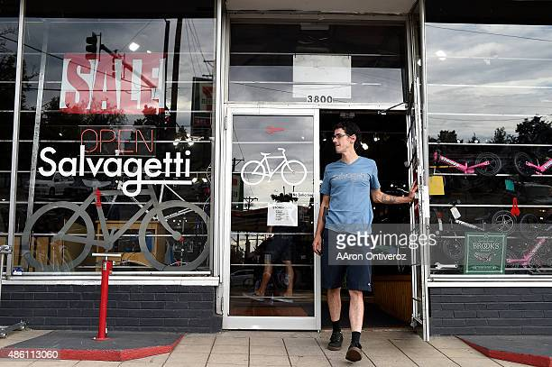 Scott Taylor owner of Salvagetti's walks out of the shop at the store's 38th and Irving location Denver bicycle shop Salvagetti's closing after 11...