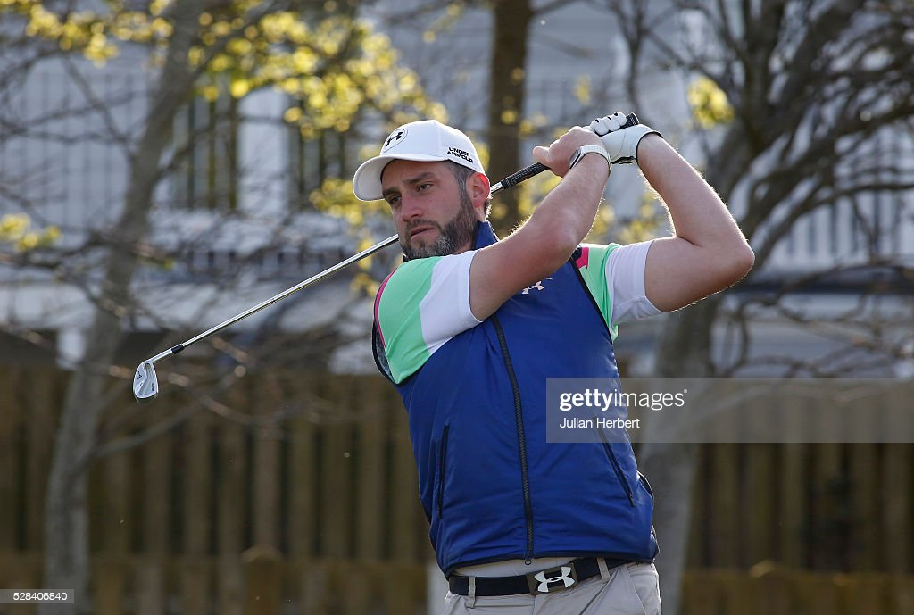 Scott Thompson of Mendip Spring Golf Club plays his first shot on the 1st tee during the PGA Professional Championship - West Qualifier at Burnham And Berrow Golf Club Club on May 5, 2016, in Burnham-On-Sea, England.