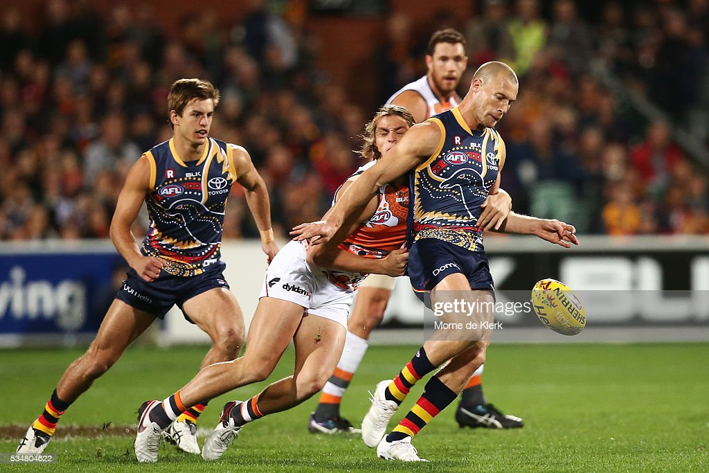 Scott Thompson of the Crows kicks the ball during the round 10 AFL match between the Adelaide Crows and the Greater Western Sydney Giants at Adelaide Oval on May 28, 2016 in Adelaide, Australia.