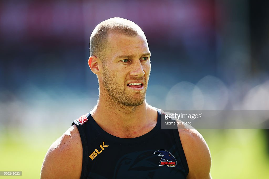 Scott Thompson of the Crows warms up before the round six AFL match between the Adelaide Crows and the Fremantle Dockers at Adelaide Oval on April 30, 2016 in Adelaide, Australia.