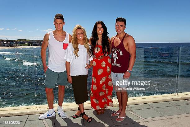 Scott Timlin Charlotte Letitia Crosby Vicky Pattison and James Tindale of UK reality TV series Geordie Shore pose for a photo at Bondi Beach on March...