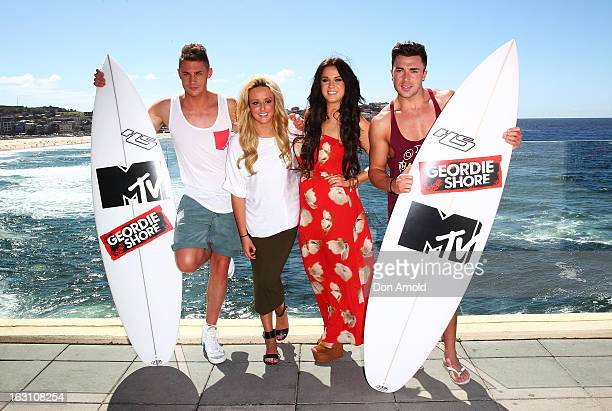 Scott TimlinCharlotte Letitia Crosby Vicky Pattison and James Tindale of UK reality TV series Geordie Shore pose for a photo at Bondi Beach on March...