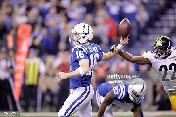 Scott Tolzien of the Indianapolis Colts has the ball stripped from him by William Gay of the Pittsburgh Steelers during the first quarter of the game...