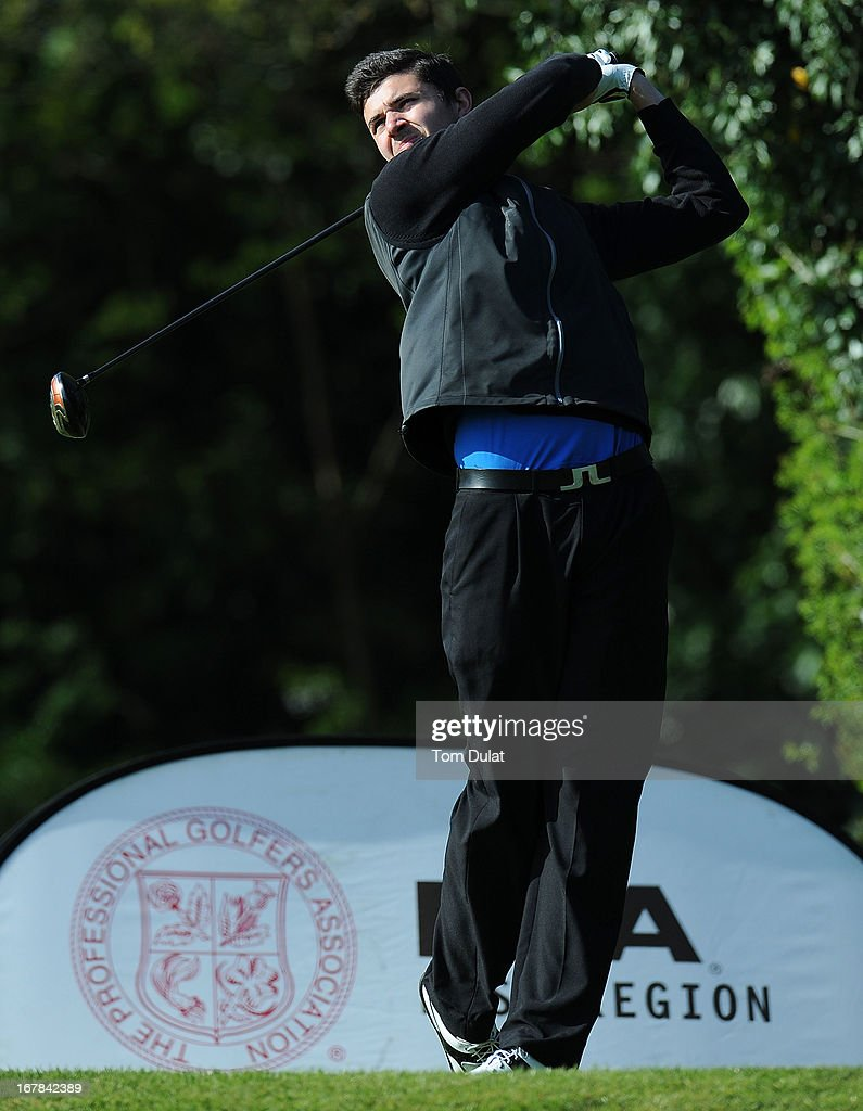 Scott Tuffey of Abridge Golf & Country Club tees off from the 1st hole during the Powerade PGA Assistants' Championship East Regional Qualifier at Chigwell Golf Club on May 01, 2013 in Chigwell, England.
