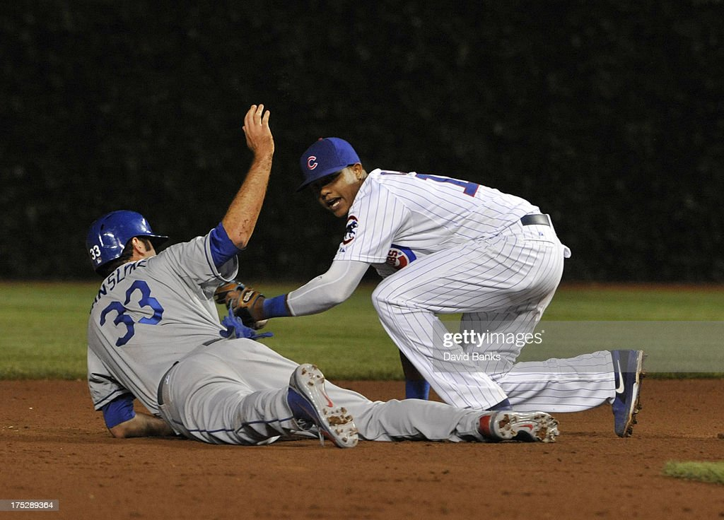 Scott Van Slyke #33 of the Los Angeles Dodgers dives back safely into second base during the sixth inning as <a gi-track='captionPersonalityLinkClicked' href=/galleries/search?phrase=Starlin+Castro&family=editorial&specificpeople=5970945 ng-click='$event.stopPropagation()'>Starlin Castro</a> #13 of the Chicago Cubs applies the tag on August 1, 2013 at Wrigley Field in Chicago, Illinois.