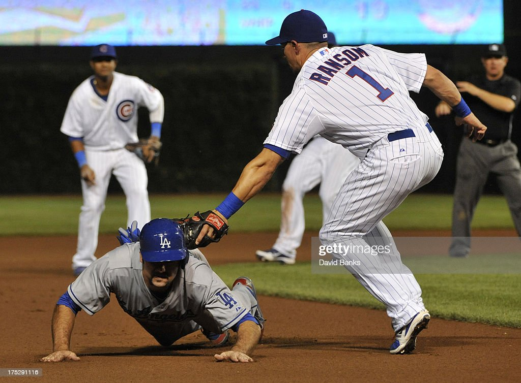 Scott Van Slyke #33 of the Los Angeles Dodgers is tagged out by <a gi-track='captionPersonalityLinkClicked' href=/galleries/search?phrase=Cody+Ransom&family=editorial&specificpeople=239159 ng-click='$event.stopPropagation()'>Cody Ransom</a> #1 of the Chicago Cubs during the seventh inning on August 1, 2013 at Wrigley Field in Chicago, Illinois.