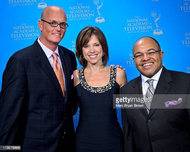 Scott Vanpelt Hannah Storm and Mike Tirico attend the 32nd annual Sport Emmy Awards at Frederick P Rose Hall Jazz at Lincoln Center on May 2 2011 in...