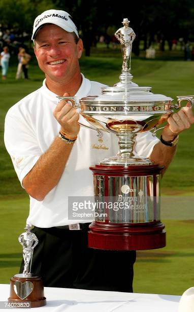 Scott Verplank poses with the trophy after winning the EDS Byron Nelson Championship on April 29 2007 at the TPC Four Seasons Resort Las Colinas in...