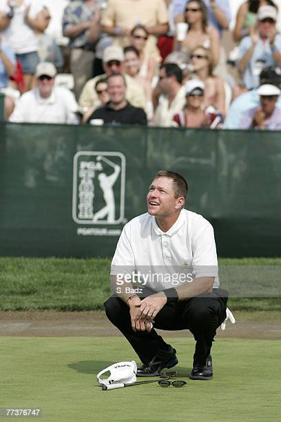 Scott Verplank reacts to his winning moment after the fourth and final round of the EDS Byron Nelson Championship held on the Tournament Players...