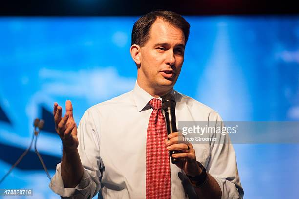 Scott Walker speaks during the Western Conservative Summit at the Colorado Convention Center in Denver Colorado on June 27 2015 in Denver Colorado...