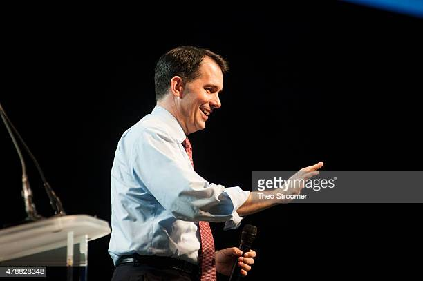 Scott Walker waves during the Western Conservative Summit at the Colorado Convention Center in Denver Colorado on June 27 2015 in Denver Colorado The...